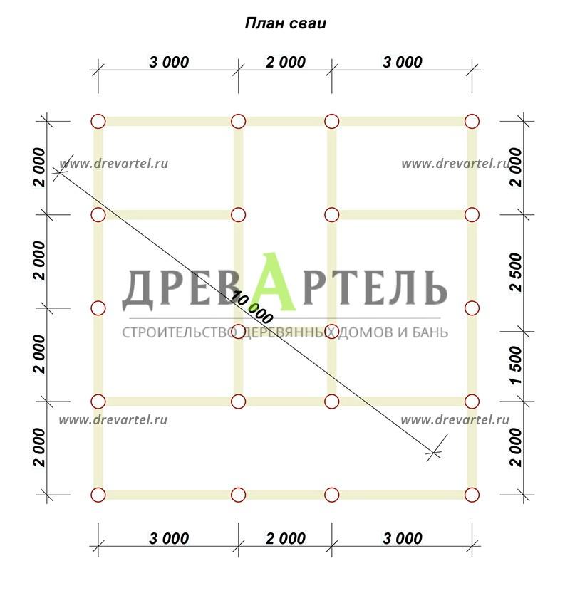 План свайного фундамента - Дом из бруса 6х8 с мансардой и кукушкой