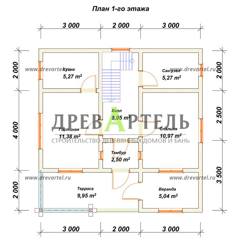 План 1-го этажа - Дом из бруса 6х8 с кукушкой и террасой
