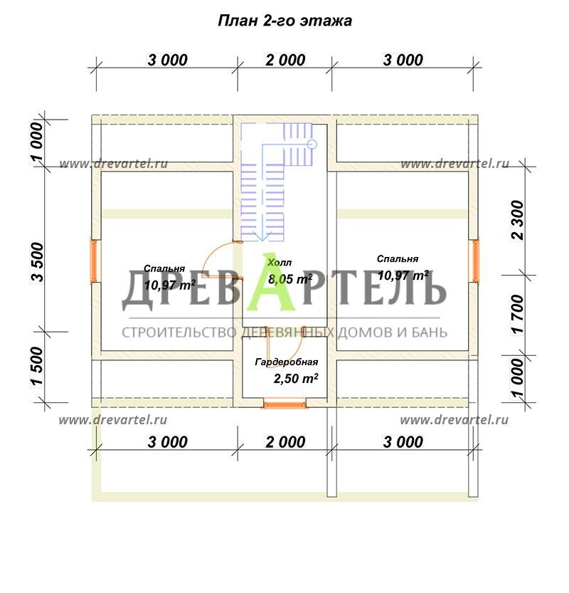 План 2-го этажа - Дом из бруса 6х8 с кукушкой и террасой