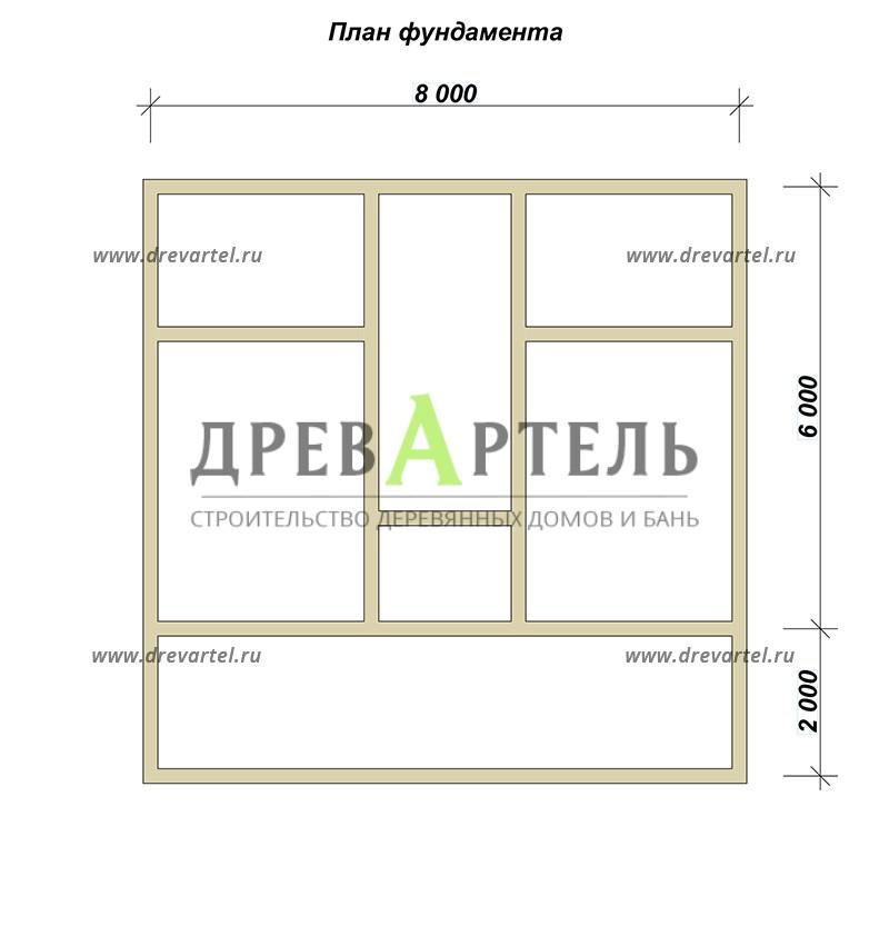 План ленточного фундамента - Дом из бруса 6х8 с кукушкой и террасой