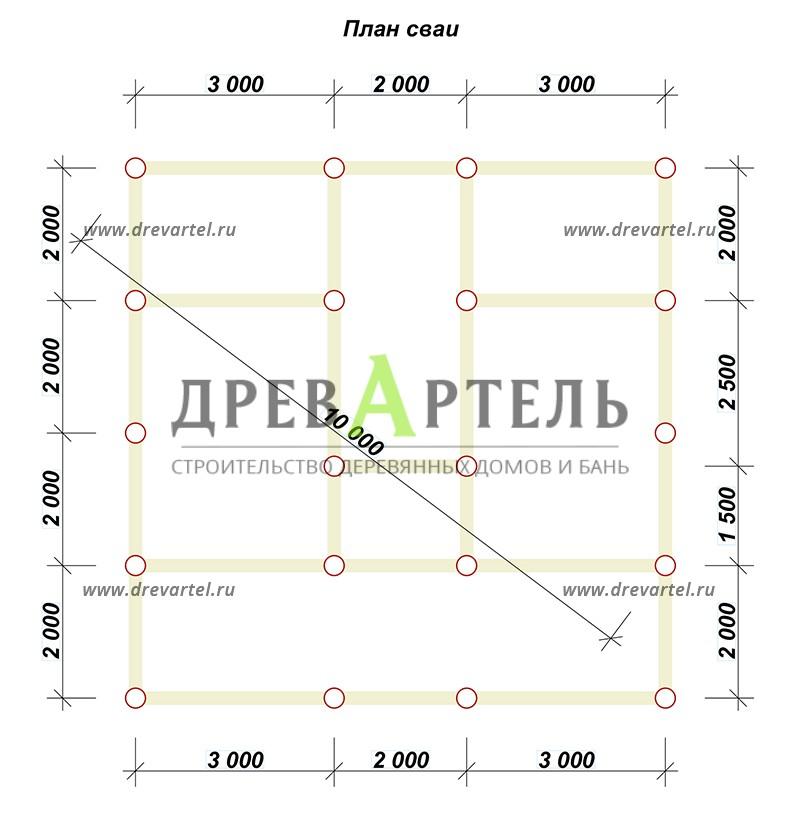 План свайного фундамента - Дом из бруса 6х8 с кукушкой и террасой