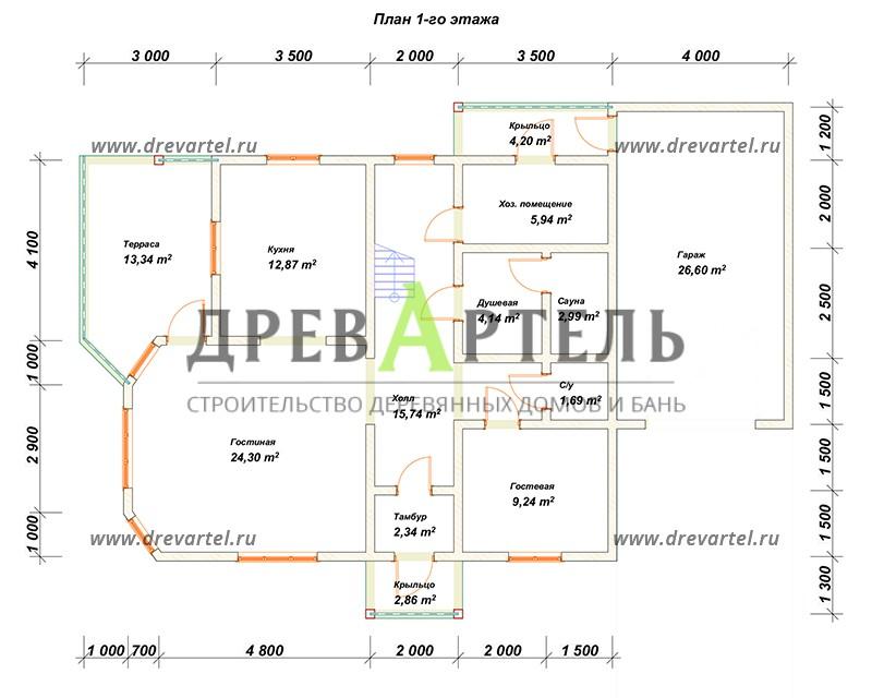 План 1-го этажа - Дом из бруса 9х11 с гаражом