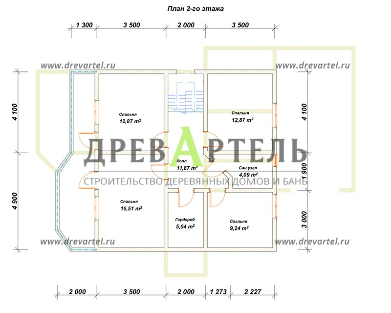 План 2-го этажа - Дом из бруса 9х11 с гаражом