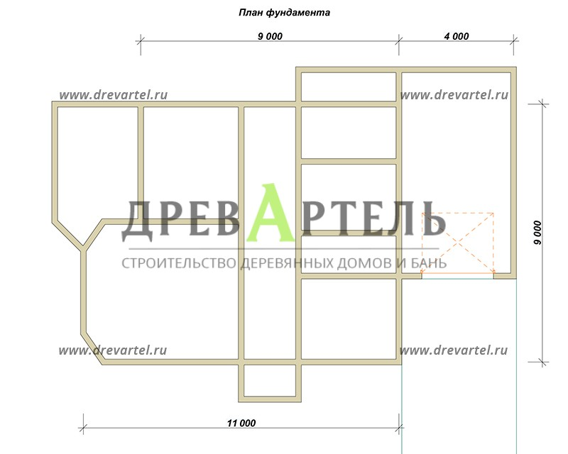 План ленточного фундамента - Дом из бруса 9х11 с гаражом