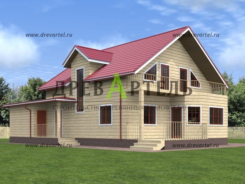 Дом из профилированного бруса 8х9 - проект, цена, фото москв.