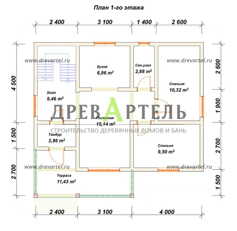 План 1-го этажа - Дом из бруса 7х9 с террасой