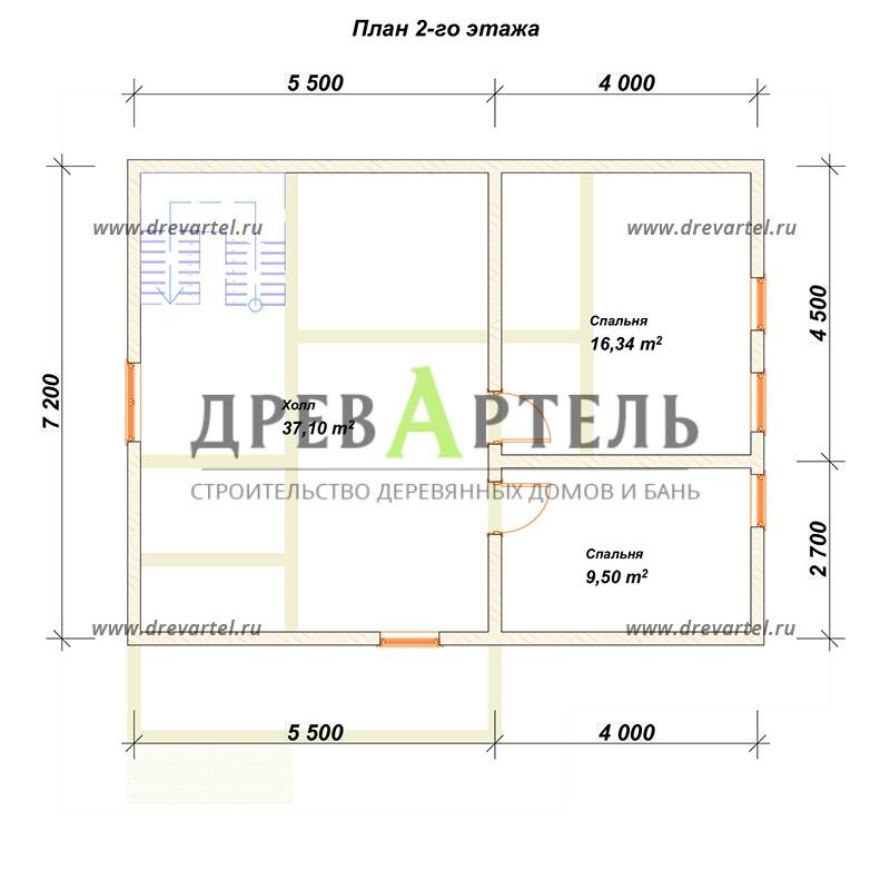План 2-го этажа - Дом из бруса 7х9 с террасой