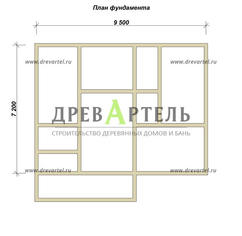 План ленточного фундамента - Дом из бруса 7х9 с террасой