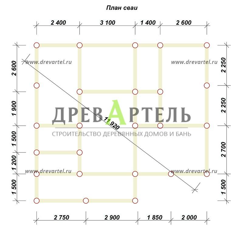 План свайного фундамента - Дом из бруса 7х9 с террасой