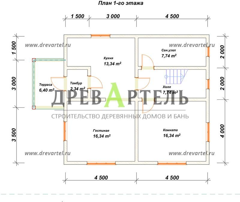 План 1-го этажа - Дом из профилированного бруса 8х9