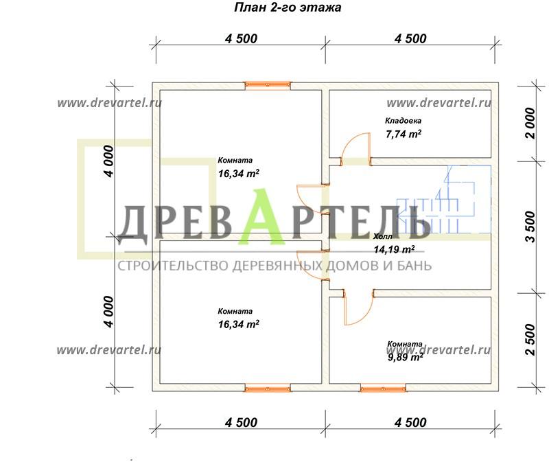 План 2-го этажа - Дом из профилированного бруса 8х9