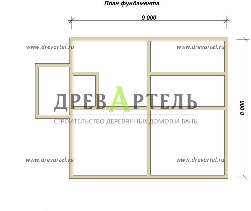 План ленточного фундамента - Дом из профилированного бруса 8х9
