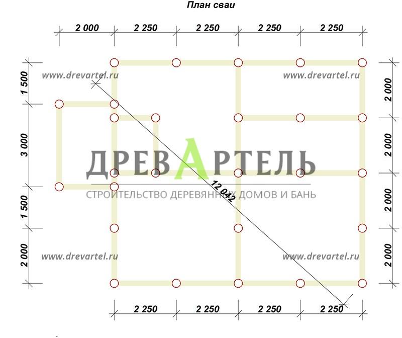 План свайного фундамента - Дом из профилированного бруса 8х9