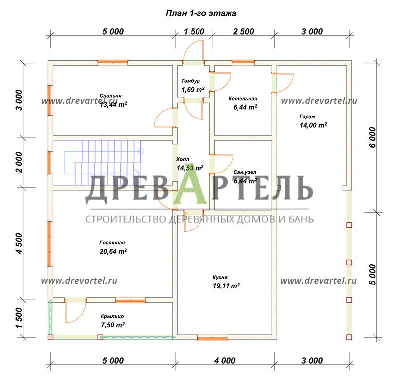 План 1-го этажа - Дом из бруса 11х12