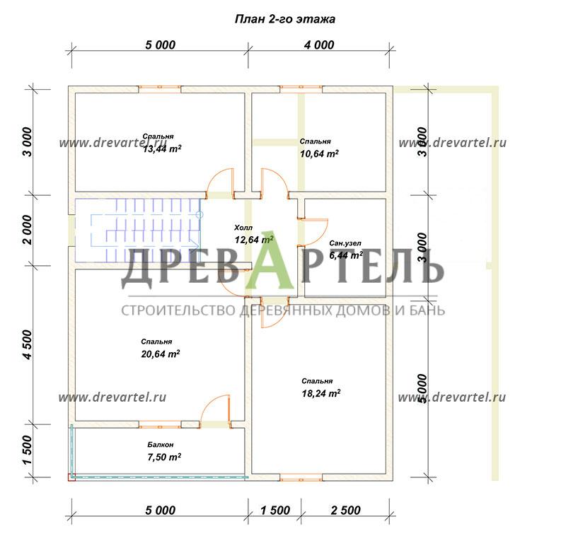 План 2-го этажа - Дом из бруса 11х12