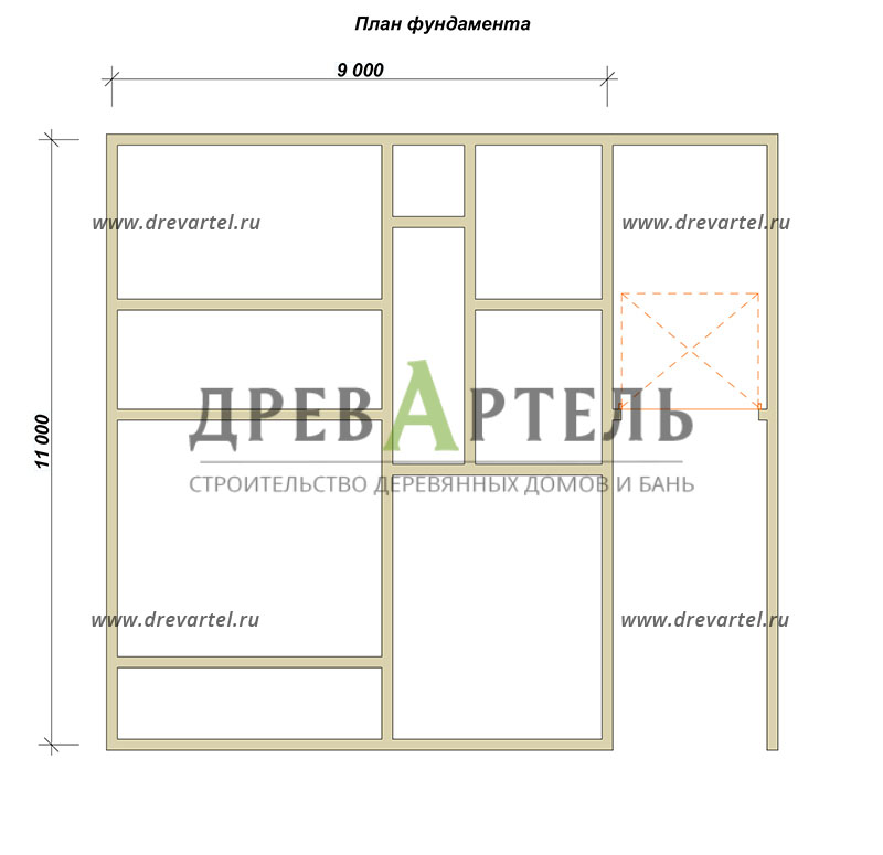 План ленточного фундамента - Дом из бруса 11х12