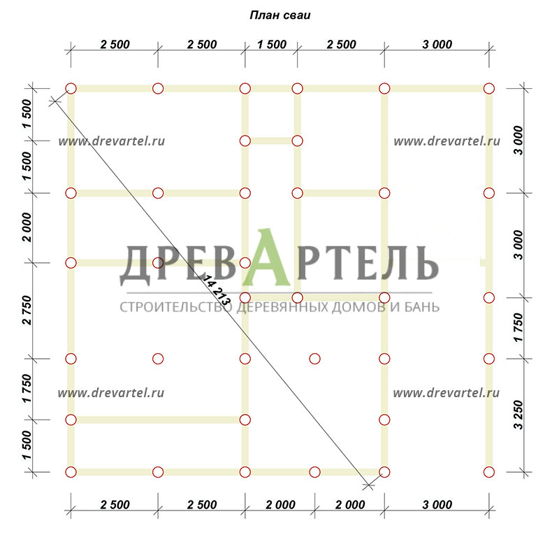 План свайного фундамента - Дом из бруса 11х12