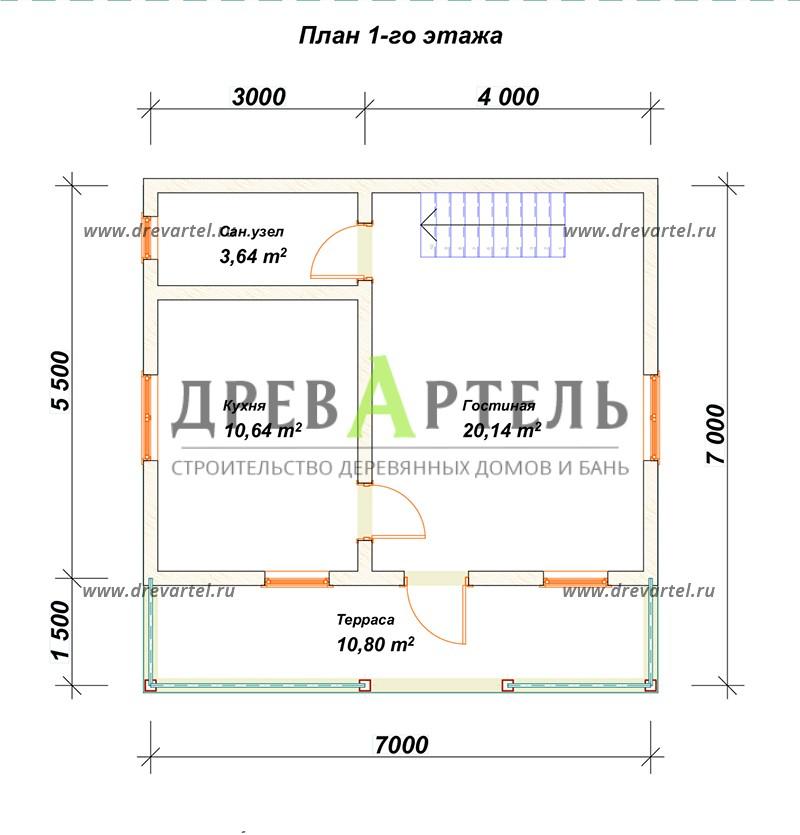 План 1-го этажа - Дачный дом из профилированного бруса 7х7