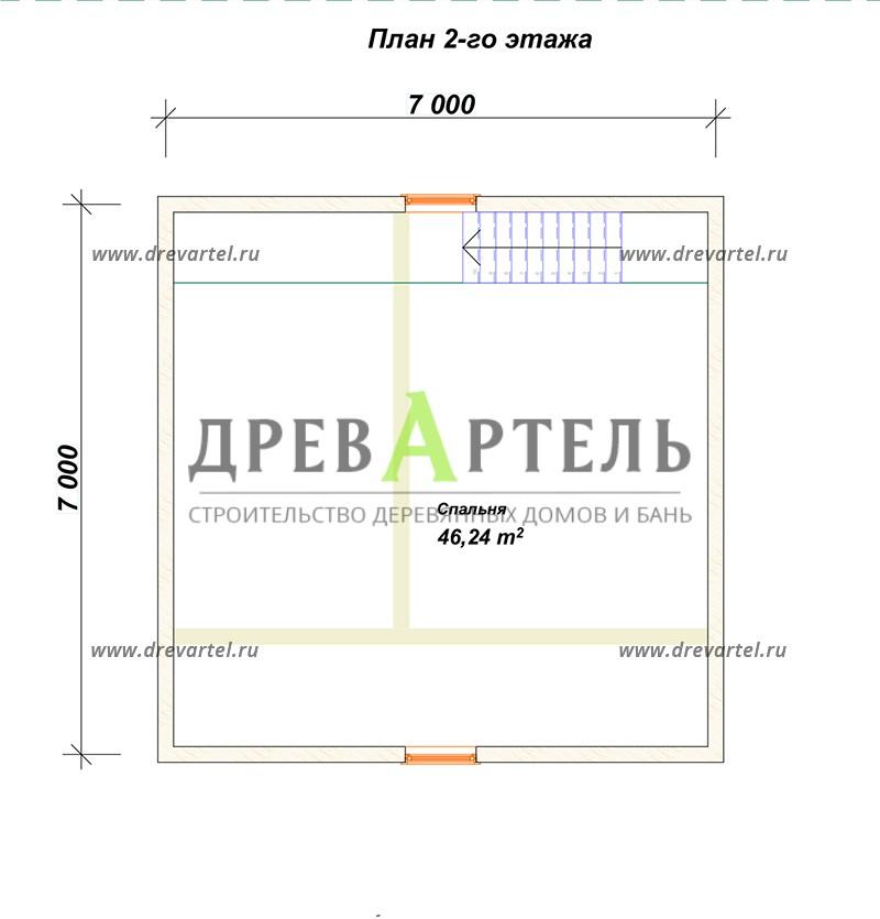 План 2-го этажа - Дачный дом из профилированного бруса 7х7