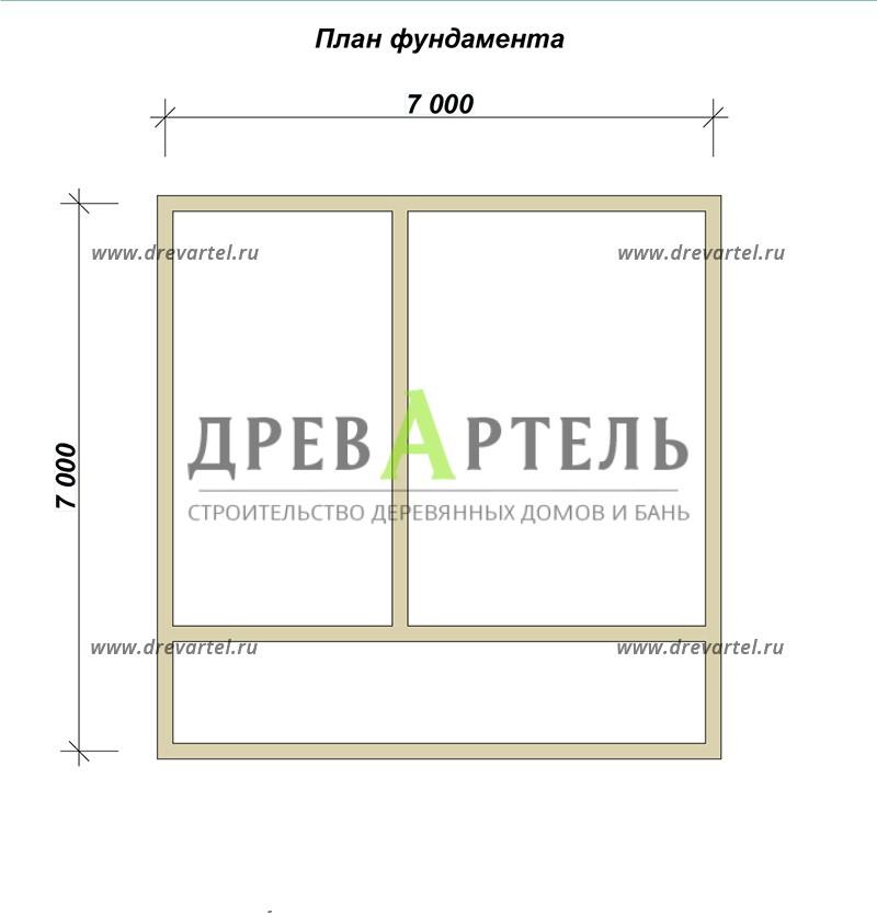 План ленточного фундамента - Дачный дом из профилированного бруса 7х7