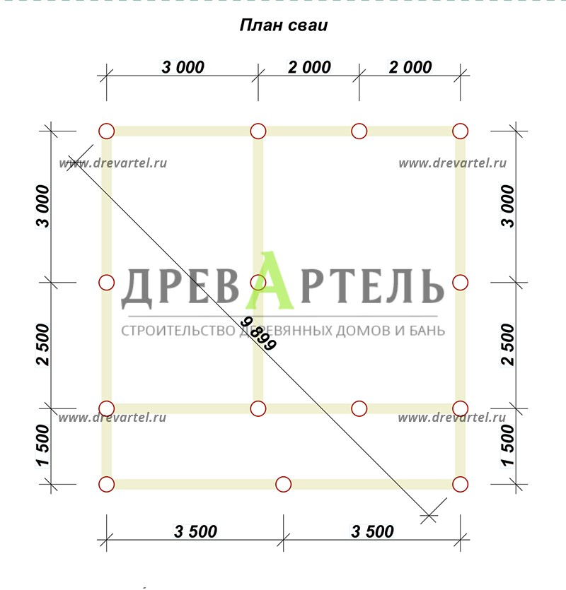 План свайного фундамента - Дачный дом из профилированного бруса 7х7