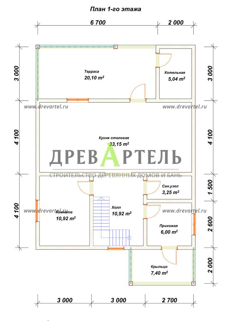 План 1-го этажа - Дом из бруса 8х8 с мансардой и котельной