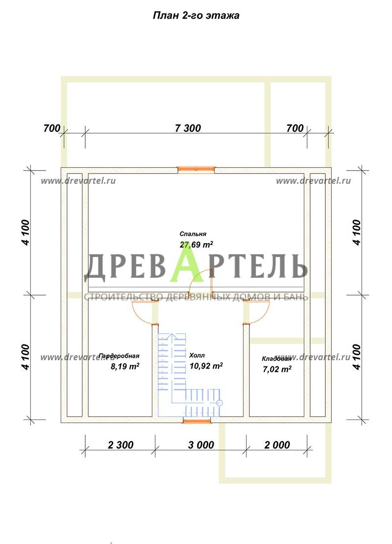 План 2-го этажа - Дом из бруса 8х8 с мансардой и котельной