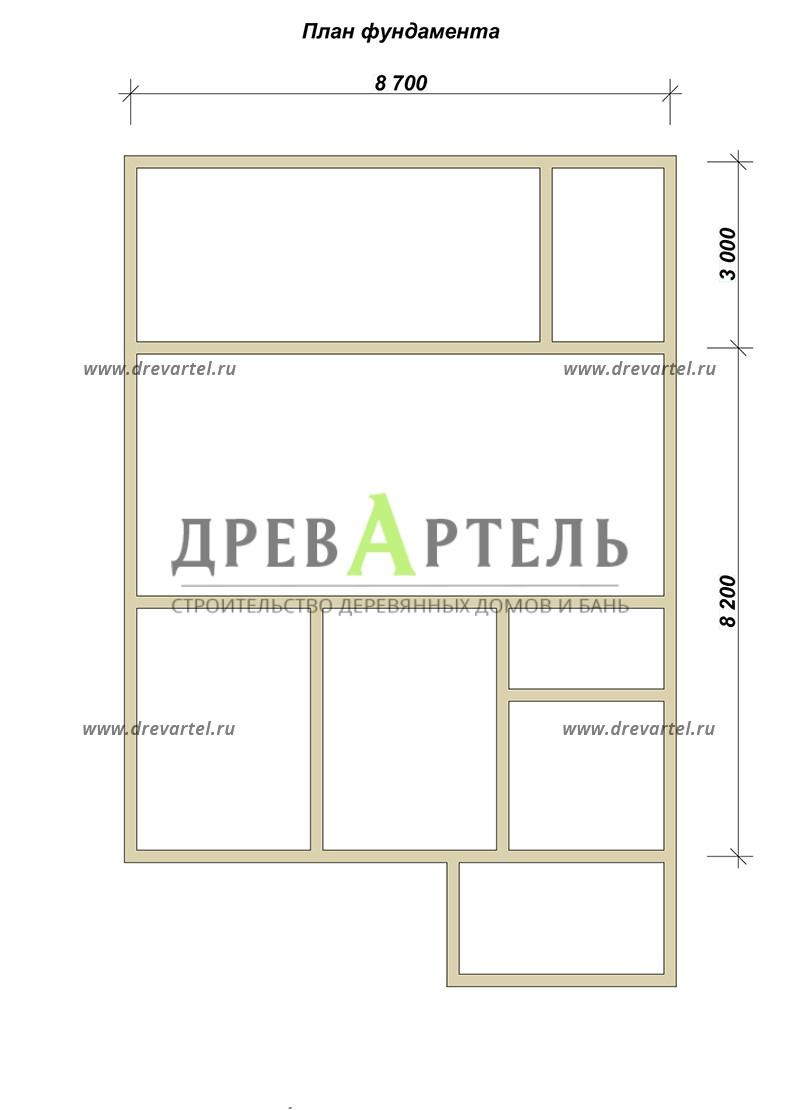 План ленточного фундамента - Дом из бруса 8х8 с мансардой и котельной