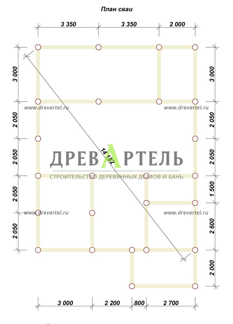 План свайного фундамента - Дом из бруса 8х8 с мансардой и котельной
