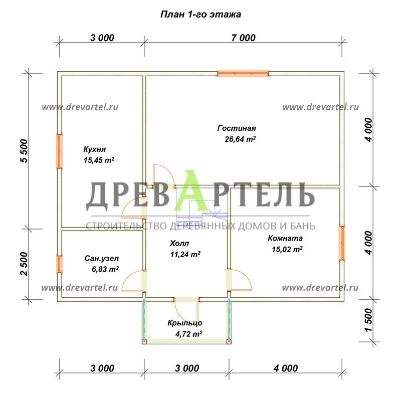 План 1-го этажа - Дом из бруса 8х10 с мансардой