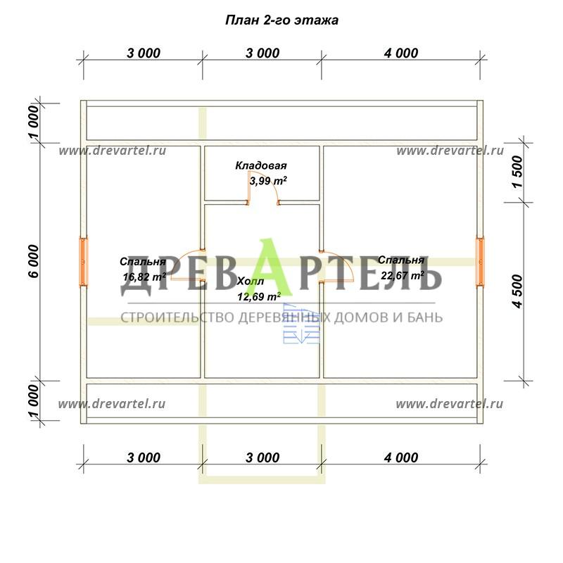 План 2-го этажа - Дом из бруса 8х10 с мансардой