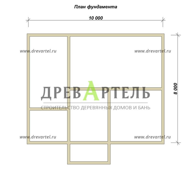 План ленточного фундамента - Дом из бруса 8х10 с мансардой