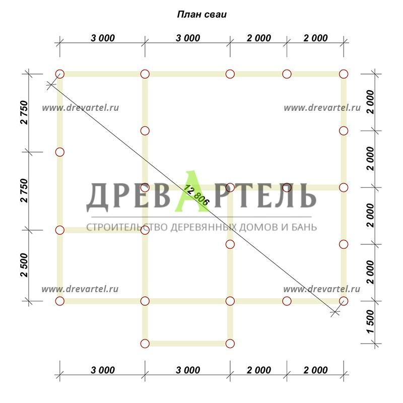 План свайного фундамента - Дом из бруса 8х10 с мансардой