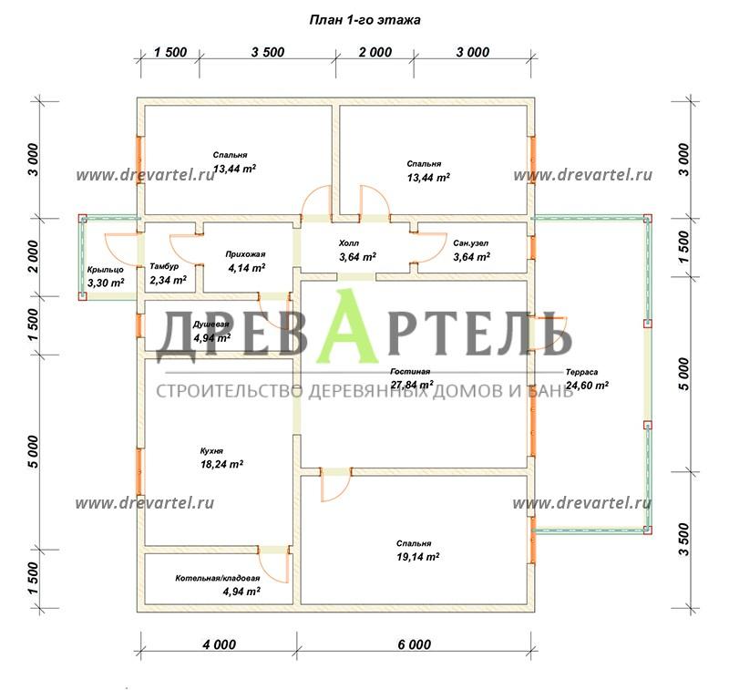 План 1-го этажа - Дом из бруса 10х13 с террасой
