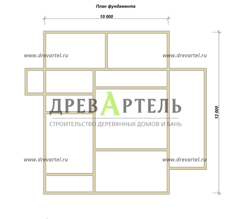 План ленточного фундамента - Дом из бруса 10х13 с террасой