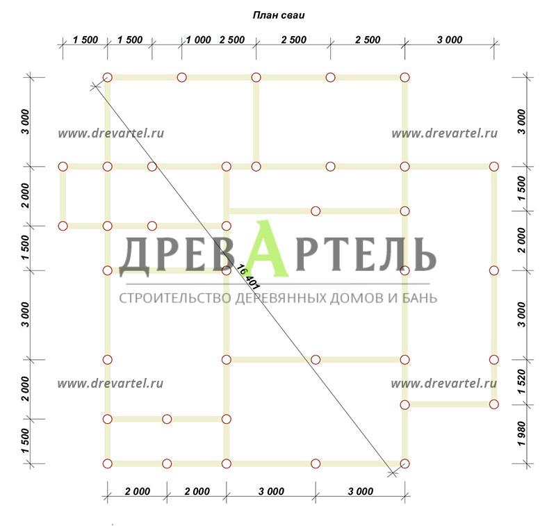 План свайного фундамента - Дом из бруса 10х13 с террасой