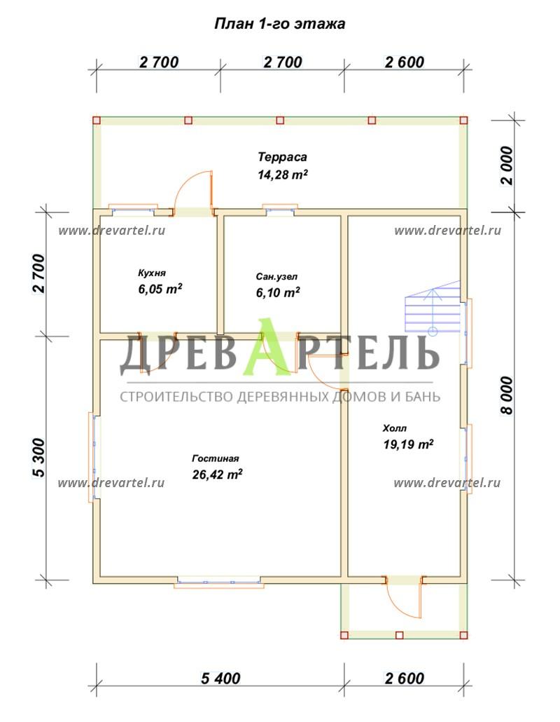 План 1-го этажа - Дом из бруса 8х8 с террасой