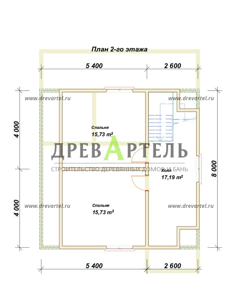 План 2-го этажа - Дом из бруса 8х8 с террасой