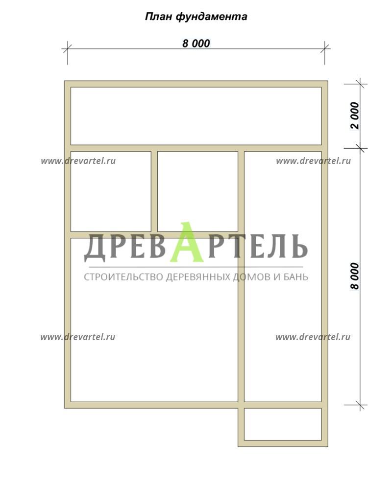План ленточного фундамента - Дом из бруса 8х8 с террасой