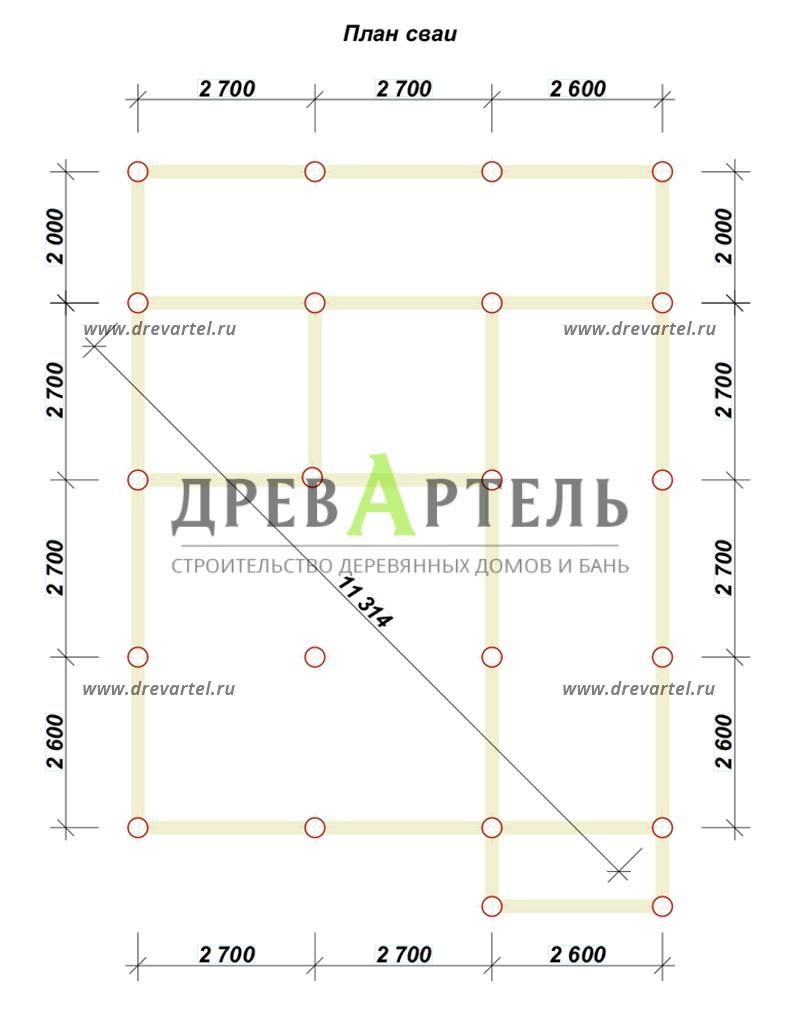 План свайного фундамента - Дом из бруса 8х8 с террасой