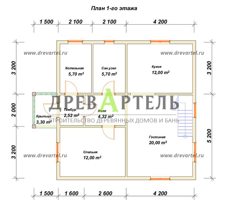 План 1-го этажа - Дом из бруса 8х8 с ломаной мансардной крышей