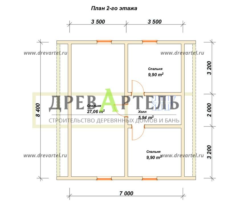 План 2-го этажа - Дом из бруса 8х8 с ломаной мансардной крышей