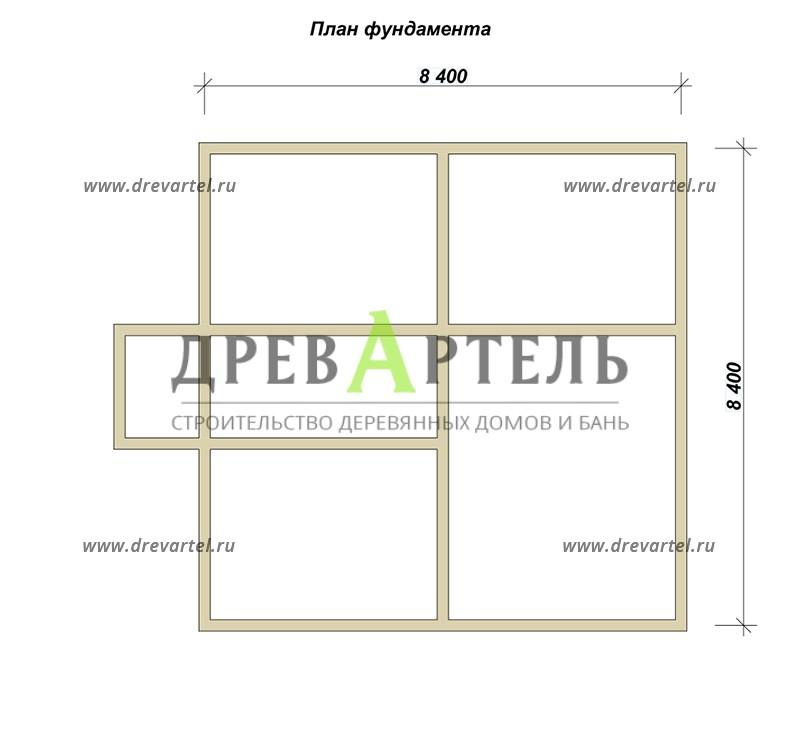 План ленточного фундамента - Дом из бруса 8х8 с ломаной мансардной крышей