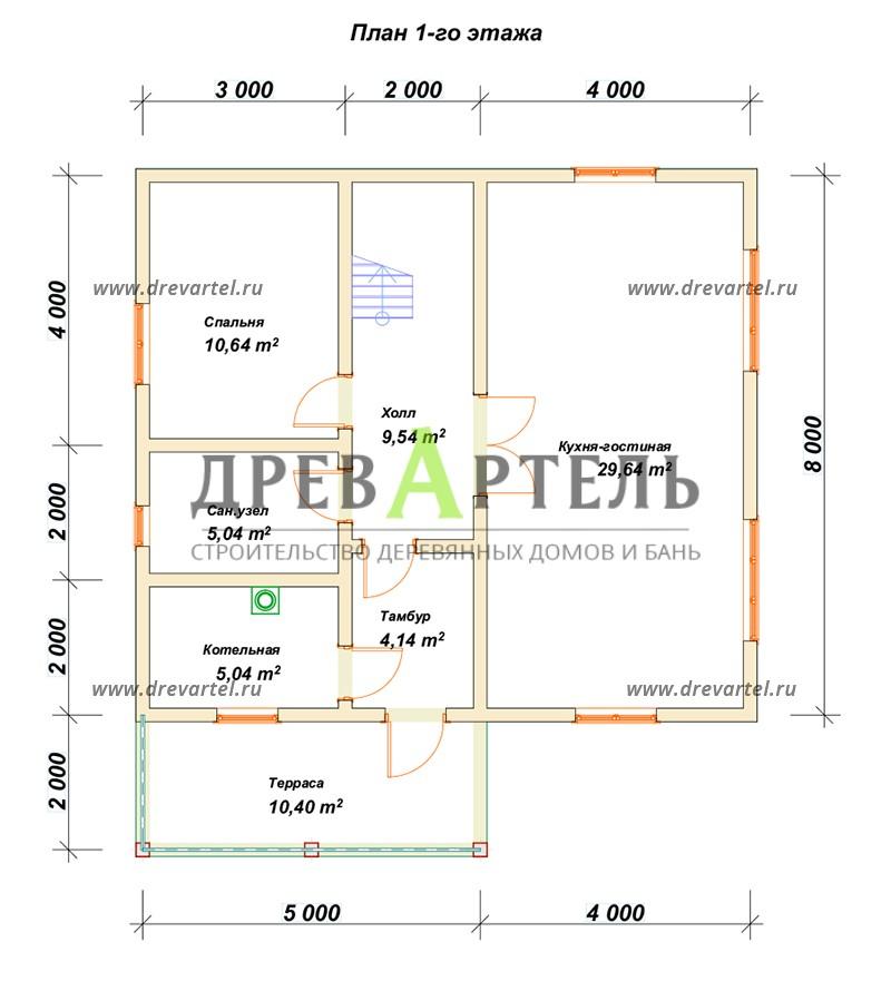 План 1-го этажа - Дом из бруса 8х9 с котельной