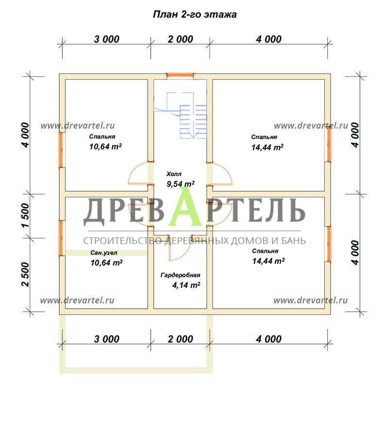 План 2-го этажа - Дом из бруса 8х9 с котельной