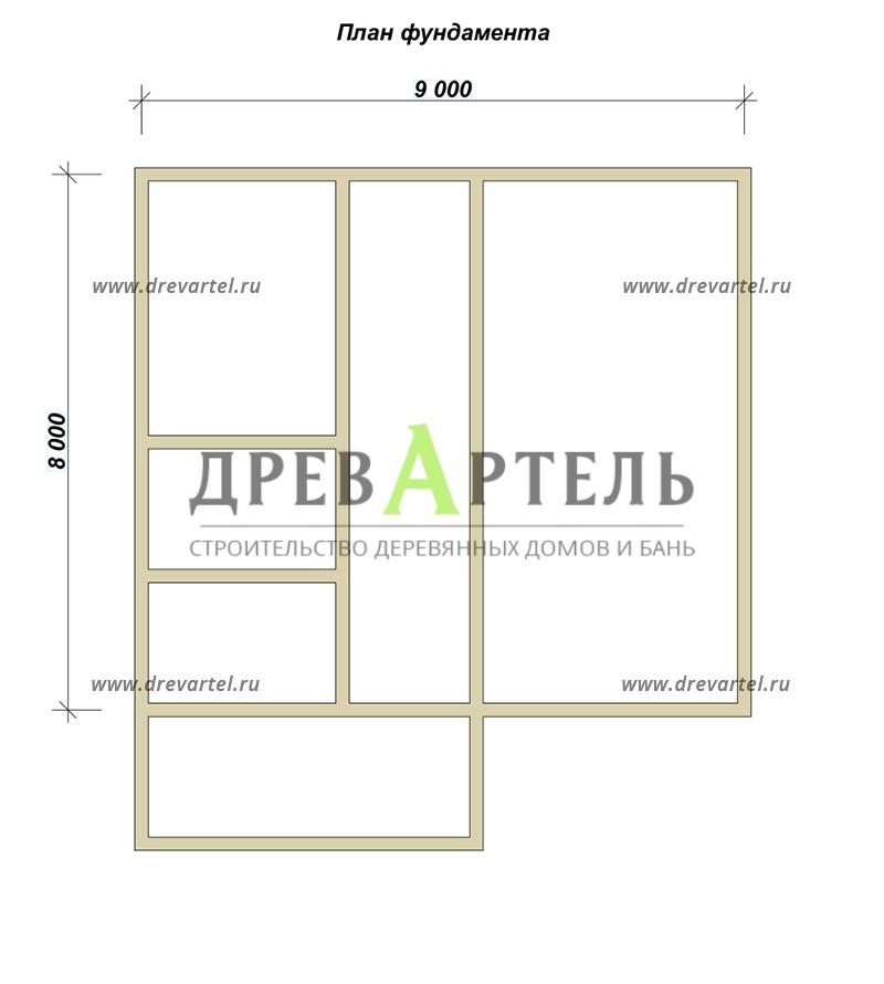 План ленточного фундамента - Дом из бруса 8х9 с котельной