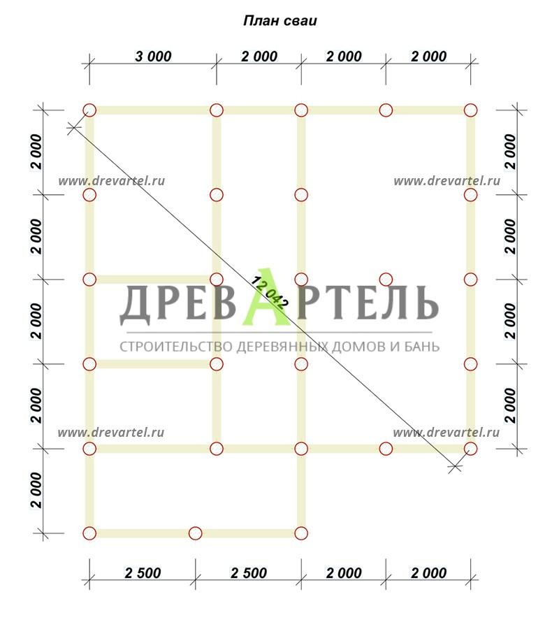 План свайного фундамента - Дом из бруса 8х9 с котельной