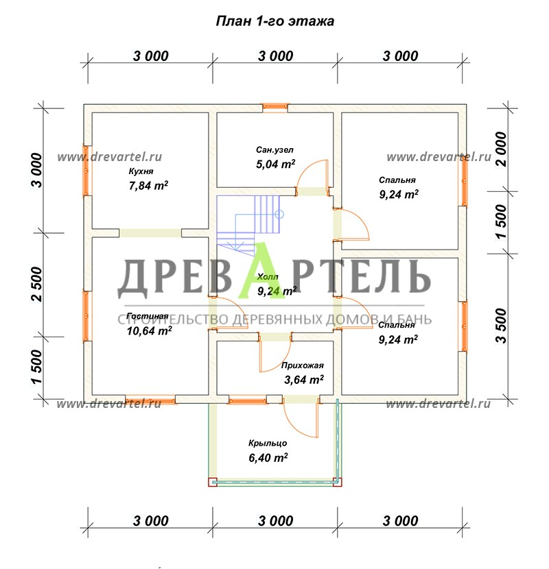 План 1-го этажа - Дом из бруса 7х9 с отличной планировкой