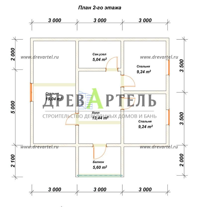 План 2-го этажа - Дом из бруса 7х9 с отличной планировкой