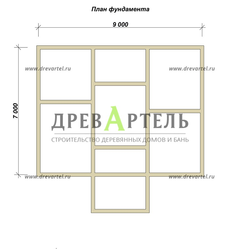 План ленточного фундамента - Дом из бруса 7х9 с отличной планировкой